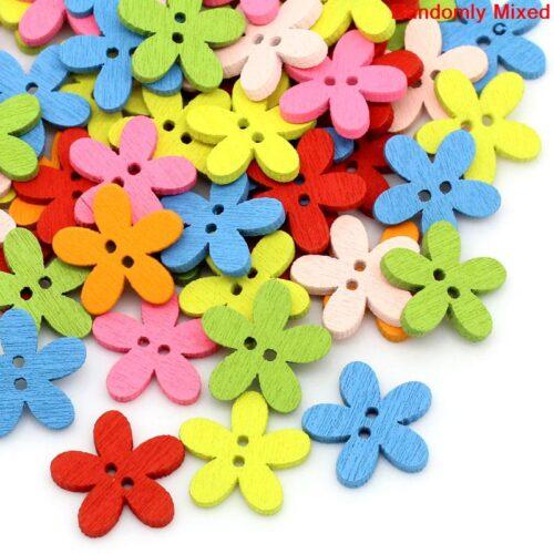 GeroniGombok - Virág formájú fa gombok (30db)