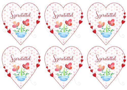GeroniGombok - Szeretettel szívek filc lap (A/4)