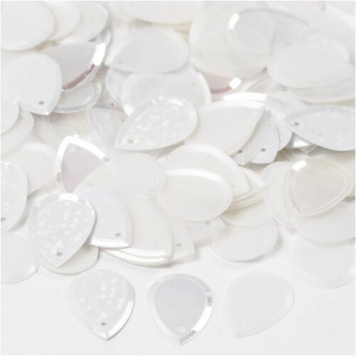 GeroniGombok - Esőcsepp alakú flitter - gyöngyház fehér (25 gramm)