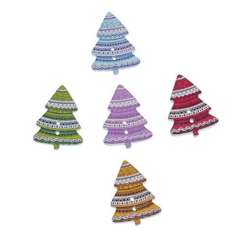 GeroniGombok - Csipkés karácsonyfa mintájú fa gomb 10 db