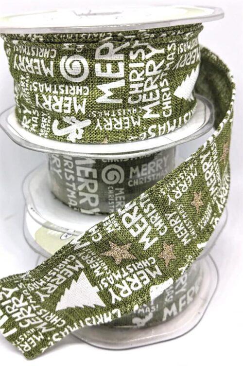 GeroniGombok - Zöld vászon szalag karácsonyi felirattal 38 mm (1m)